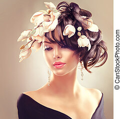 fryzura, brunetka, piękno, magnolia, kobieta, portrait., dziewczyna, kwiaty, fason