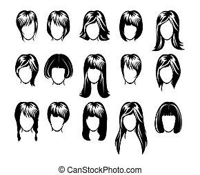 fryzura, cielna, zbiór