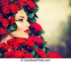 fryzura, dziewczyna, fason, piękno, wzór, róże, portret, czerwony