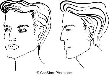 fryzura, elementy, portrety, face., salon, wektor, człowiek