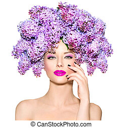 fryzura, fason, piękno, bez, wzór, kwiaty, dziewczyna