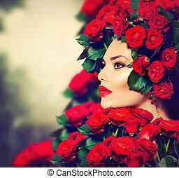 fryzura, fason, piękno, róże, portret, wzór, dziewczyna, czerwony