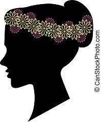 fryzura, kobieta, sylwetka, projektować, kwiatowy, twój