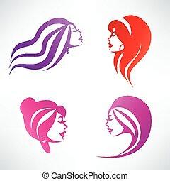 fryzura, odizolowany, zbiór, symbolika, wektor, kobiety