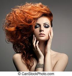fryzura, portrait., piękno