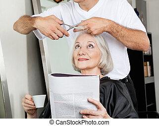 fryzura, salon, kobieta, senior, posiadanie