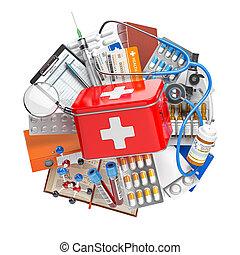 fstethoscope., apteka, concept., medyczny cebrzyk, zaopatruje, pomagać, pigułki, lekarstwa, zdrowie, wyposażenie, troska, medycyna, pierwszy