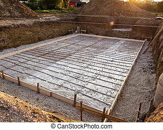 fundacja, zbudowanie, piwnica, dom