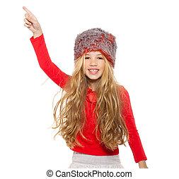 futro, koszula, taniec, dziewczyna, koźlę, kapelusz, czerwony, zima