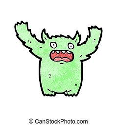 futrzany, zielony, rysunek, potwór