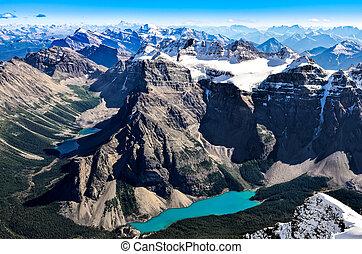 góra, banff, skala, megatona, jezioro, morena, świątynia, prospekt