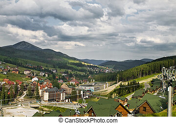 góra, carpathians, bukovel, uciekanie się, ukrainiec