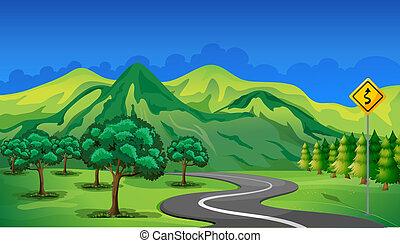 góra, chodzenie, krzywa, droga