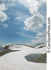 góra, columbia., brytyjski, lake., może, świstak, krajobraz