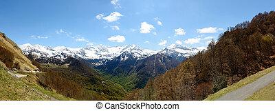 góra, francja, krajobraz, pyrenees, panorama