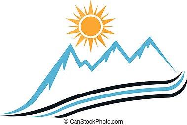 góra, graficzny, słoneczny, wektor, projektować, droga, logo.