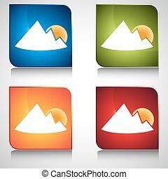 góra, guzik, wschód słońca