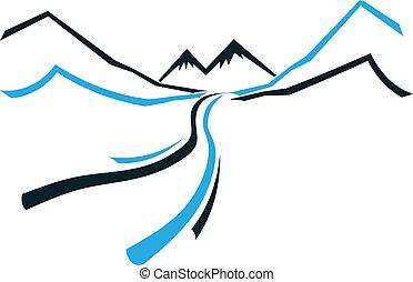 góra, ikona, dolina, droga, logo