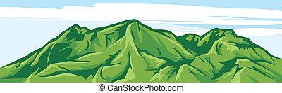 góra, ilustracja, krajobraz