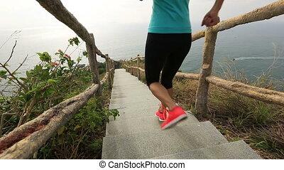góra, kobieta, młody, wyścigi, stosowność, schody