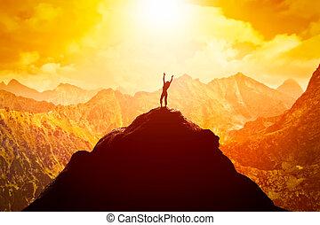 góra, kobieta, powodzenie, wolność, jasny, daszek, future., cieszący się, szczęśliwy