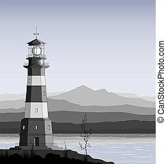 góra, latarnia morska, range., przeciw