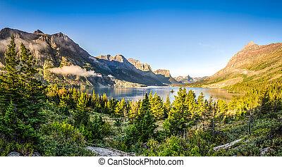 góra, lodowiec, jezioro, panoramiczny, skala, np, krajobraz, prospekt