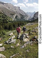 góra, mężczyźni, dwa, hiking