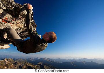 góra, młody, wysoki, skala, nad, skała wspinaczkowa, człowiek