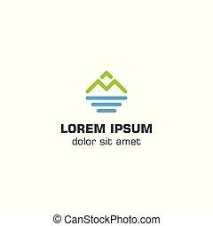 góra, morze, szablon, logo