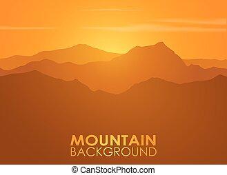 góra, na, tło., skala, wektor, sunset.