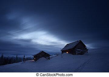 góra, noc, krajobraz, wieś