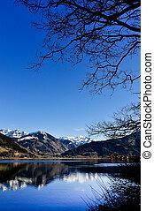 góra, odbicie, góry, drzewo, jezioro, krajobraz, prospekt