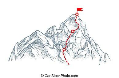 góra, odizolowany, biały górny, rout, rys
