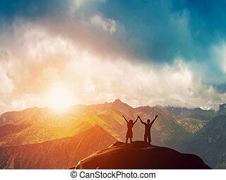 góra, para, razem, szczęśliwy