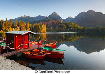 góra, pleso, -, jezioro, slovakia, tatra, strbske