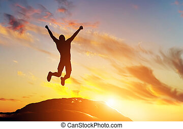góra, powodzenie, radość, skokowy, daszek, człowiek, szczęśliwy, sunset.