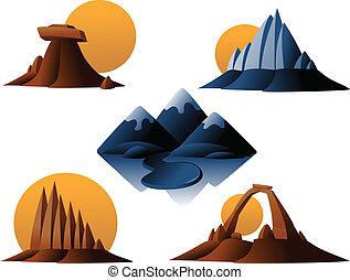 góra, pustynia, ikony