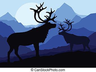 góra, rodzina, natura, para, jeleń, ilustracja, sylwetka, wektor, tło, dziki, krajobraz