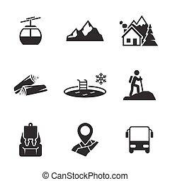 góra, rozrywka, ikony