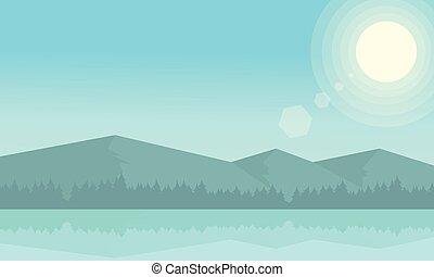 góra, rzeka krajobraz, rano