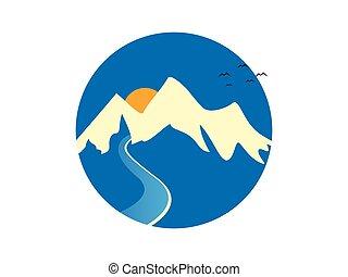 góra, rzeka, logo