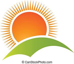 góra, słońce, logo, wektor, pagórek