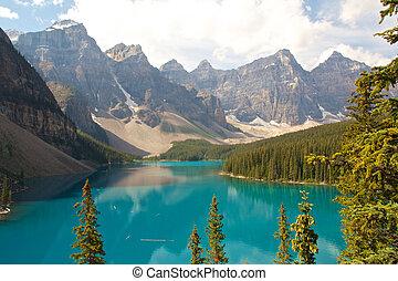 góra, skalisty, jezioro