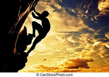 góra, sylwetka, adrenalina, wolny, waleczność, skała, leader., wspinaczkowy, człowiek, sunset.
