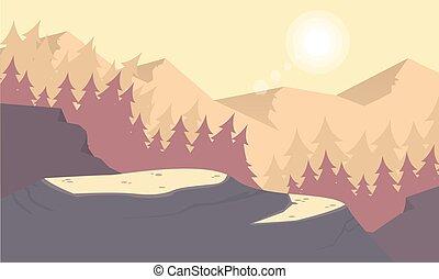 góra, sylwetka, rano