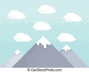 góra, sztuka, pixel