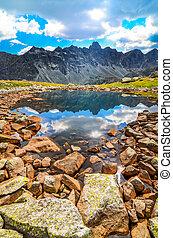 góra, tatras, pionowy, sceniczny, jezioro, trzęsie się, wysoki, slovakia, prospekt