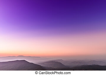góra, tropikalny, skala, zachód słońca, krajobraz, prospekt
