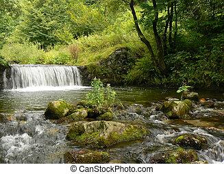 góra, waterfall., rzeka, stream.